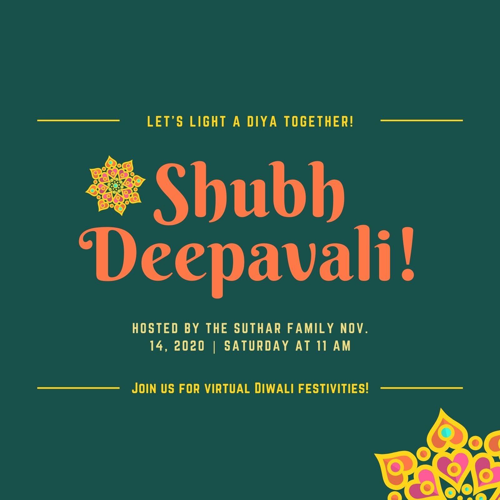 001 Wondrou Diwali Party Invite Template Free High Def Full