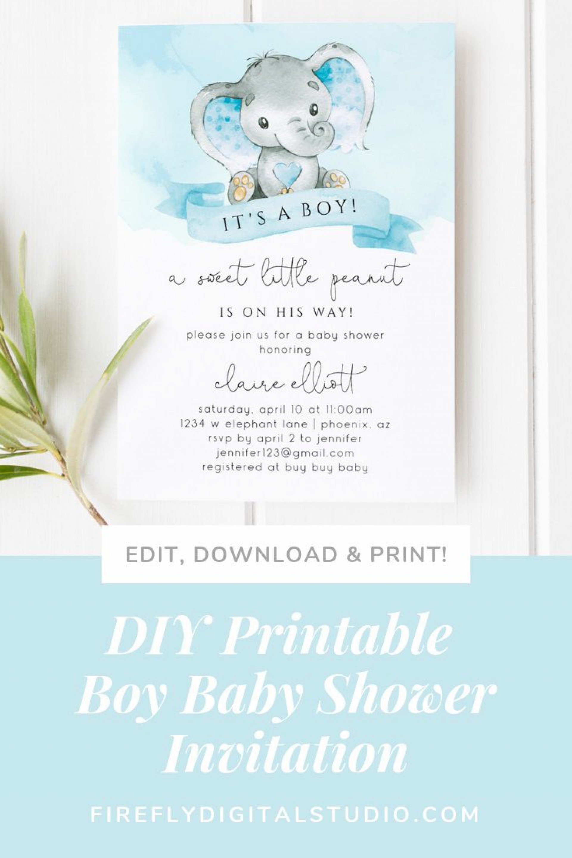 001 Wondrou Diy Baby Shower Invitation Template Inspiration  Templates Diaper1920