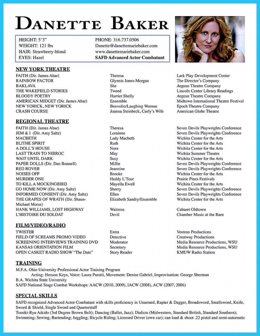 001 Wondrou Musical Theater Resume Template Word Picture  TheatreLarge