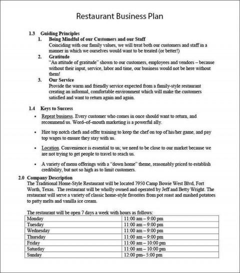 001 Wondrou Restaurant Busines Plan Sample Uk Inspiration  Template Free480