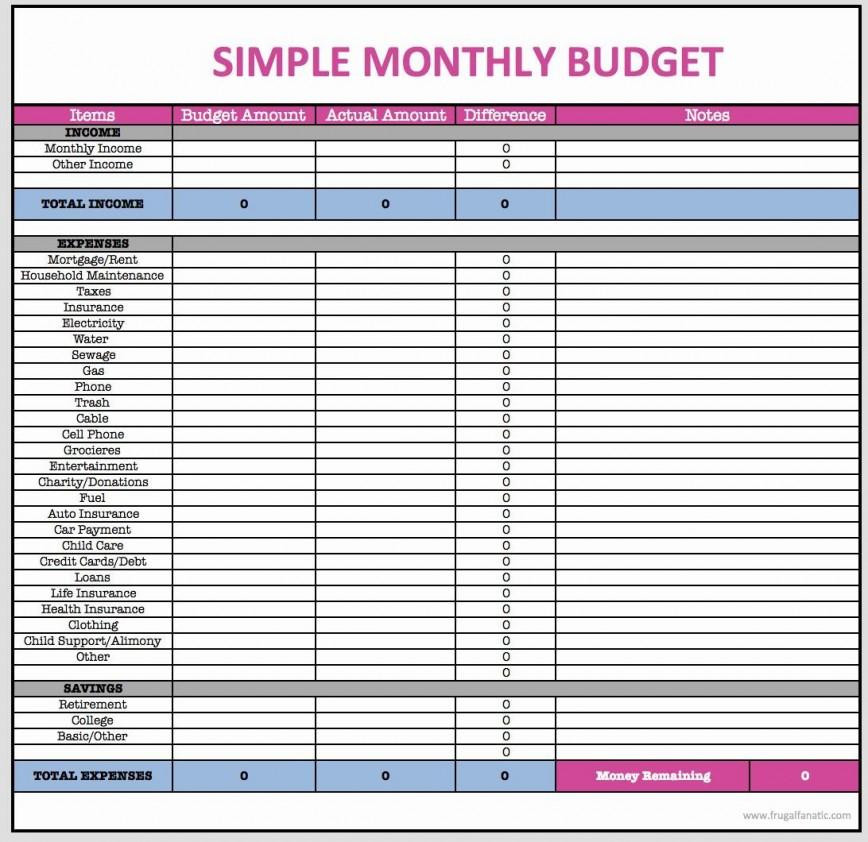 001 Wondrou Simple Line Item Budget Template Highest Clarity 868