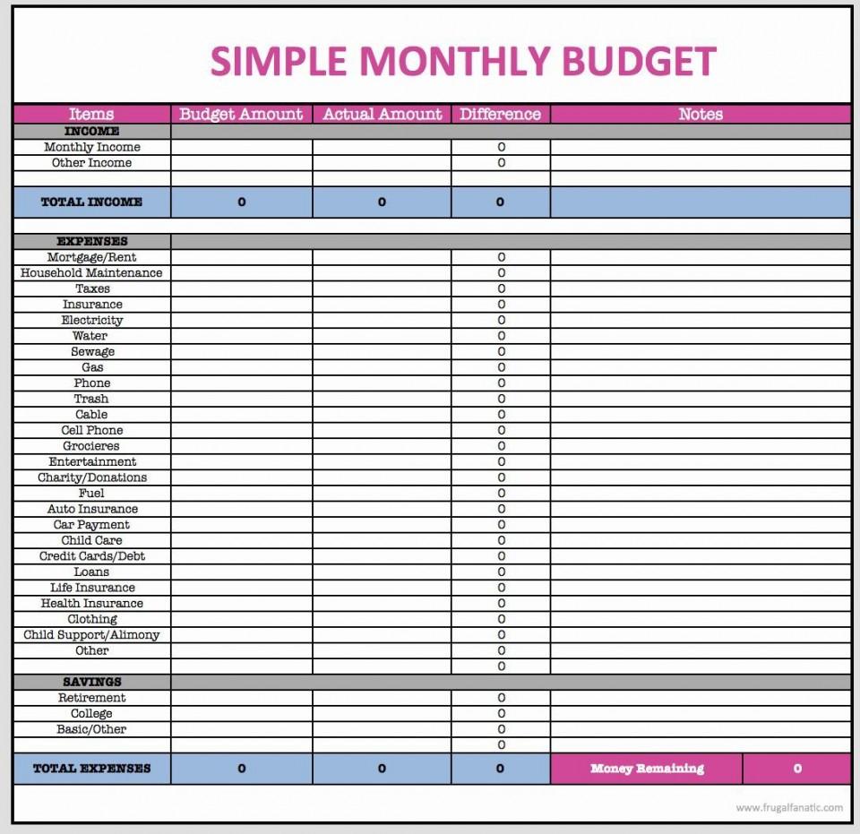 001 Wondrou Simple Line Item Budget Template Highest Clarity 960