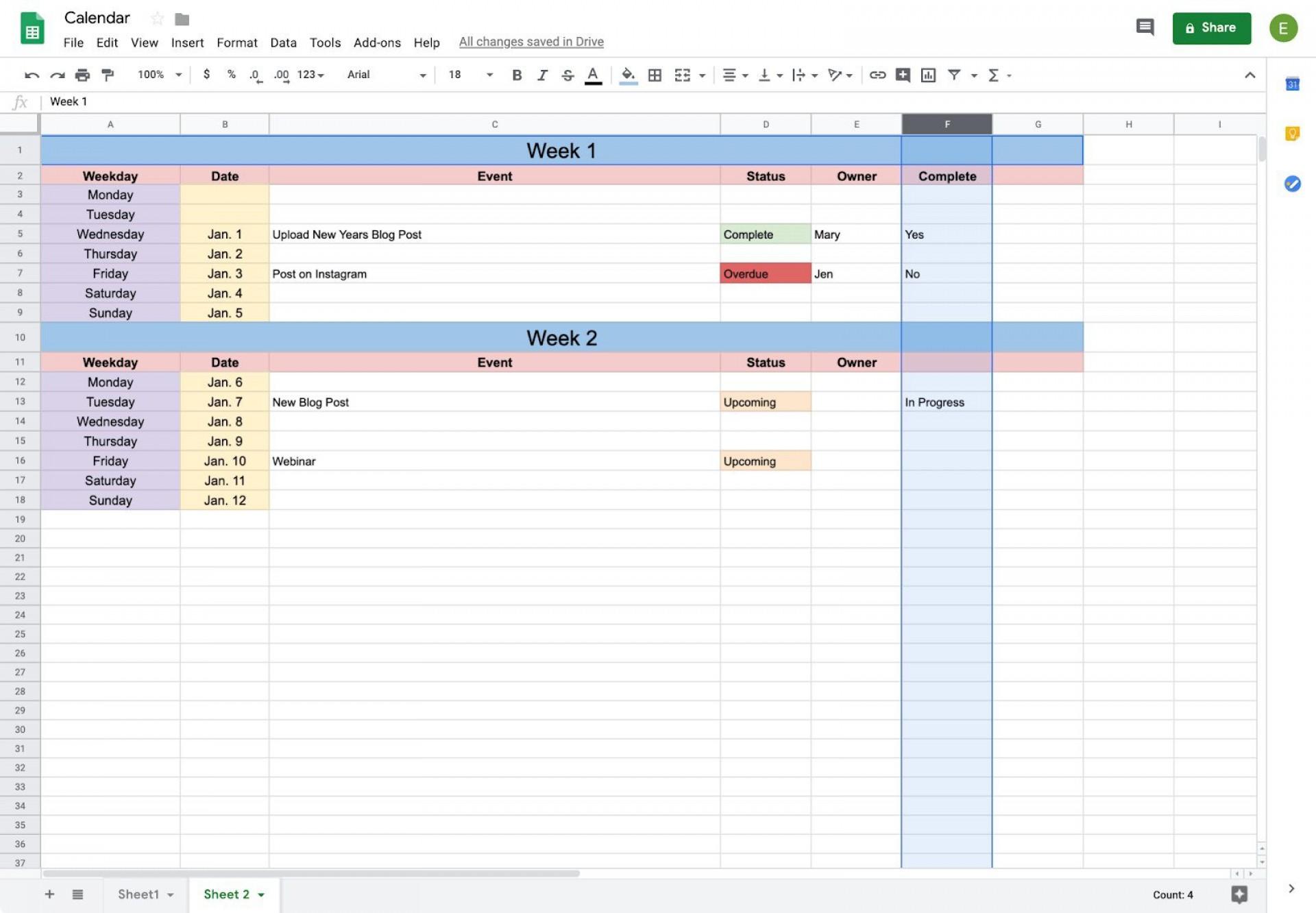 002 Amazing Calendar Template Google Doc Example  Docs Editable Two Week 2019-201920