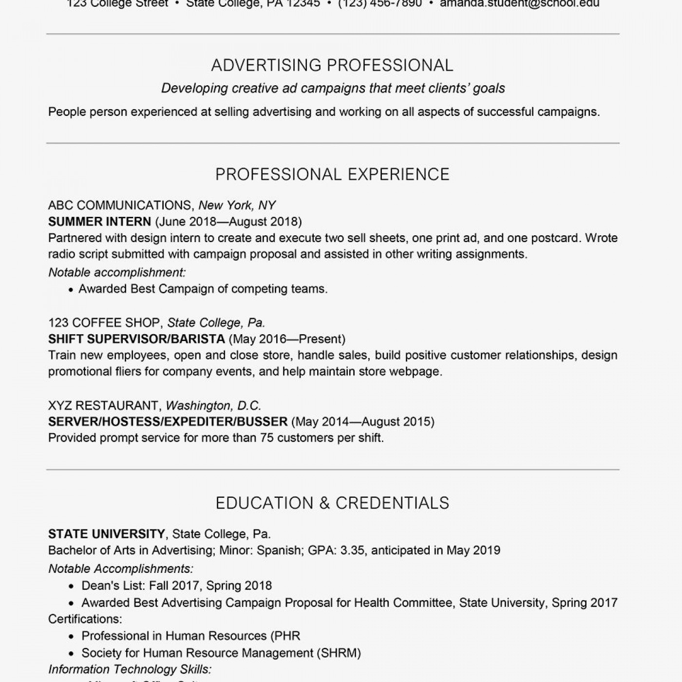 002 Amazing College Graduate Resume Template Highest Quality  Student Example 2020 New 20181400