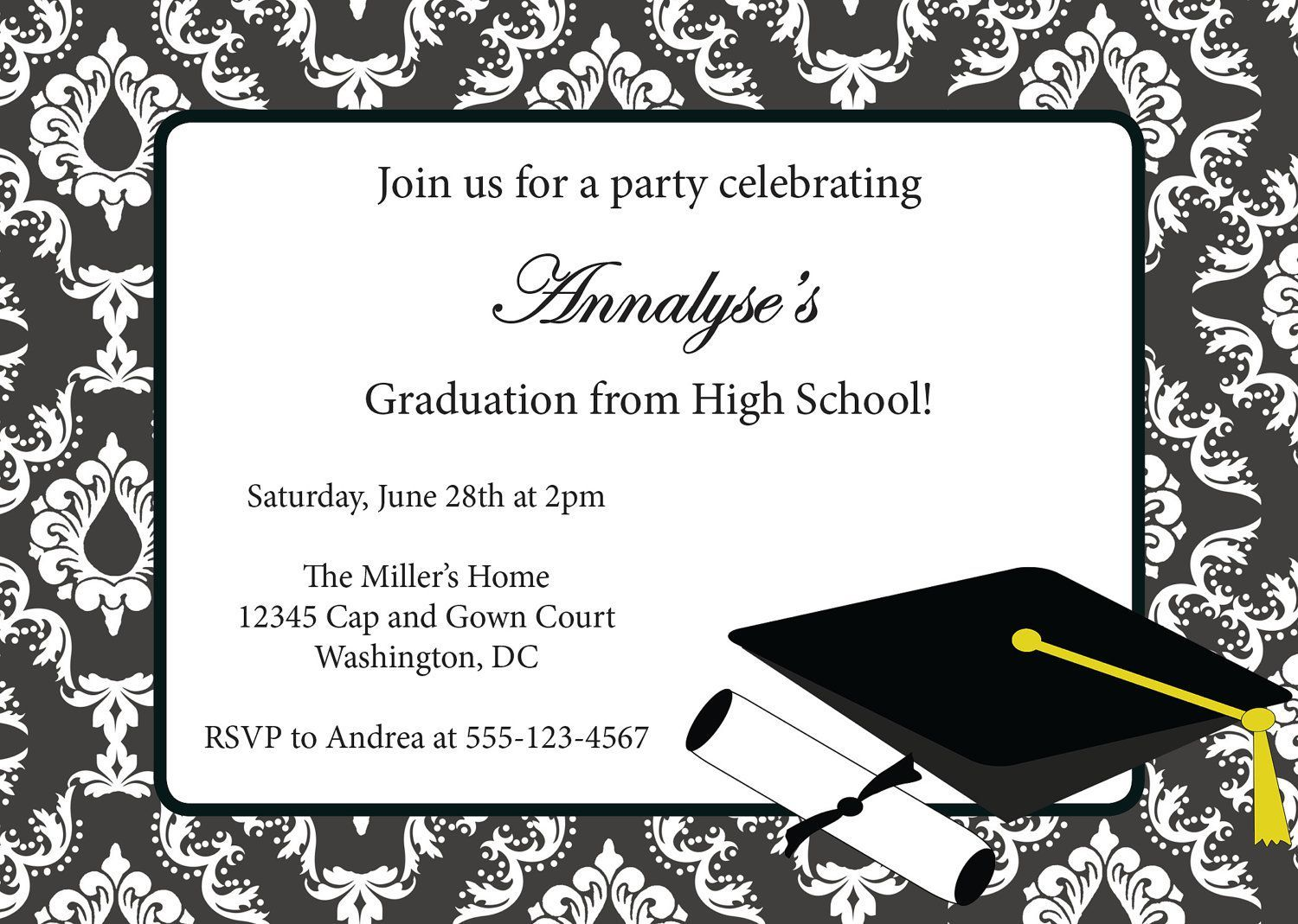 002 Amazing College Graduation Invitation Template Sample  Party Free For WordFull