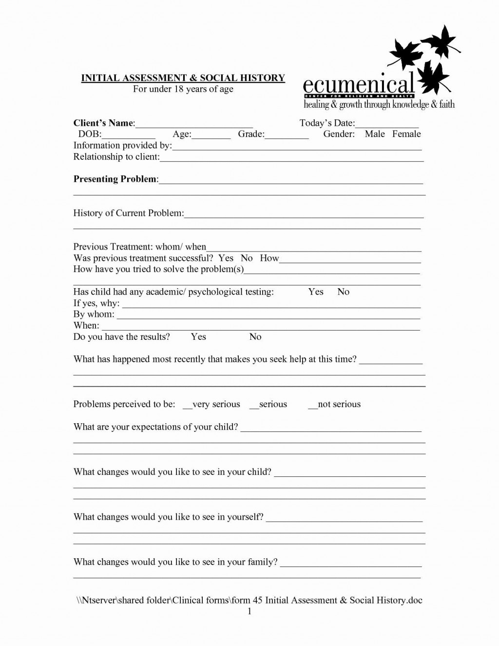002 Amazing Counseling Intake Form Template Photo  Templates Therapy Massage FreeLarge