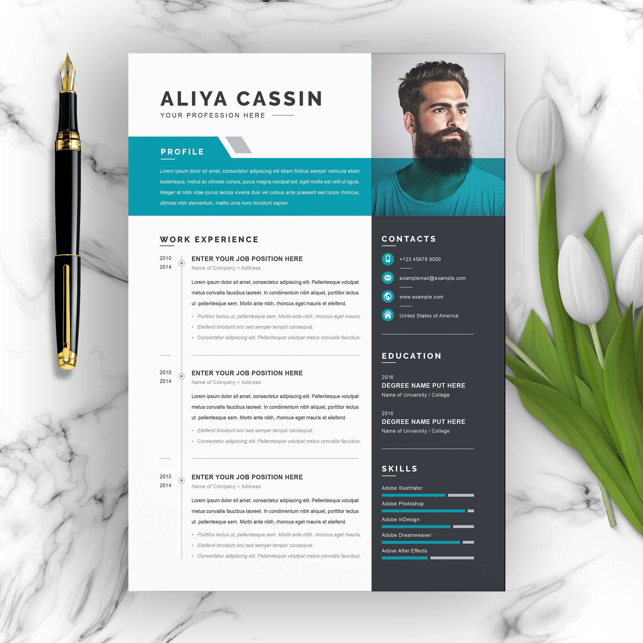 002 Amazing Creative Resume Template Free Microsoft Word Highest Quality  Download For FresherFull