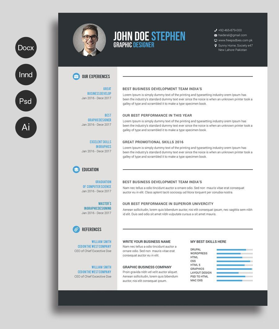002 Amazing Creative Resume Template M Word Free Highest Quality Full