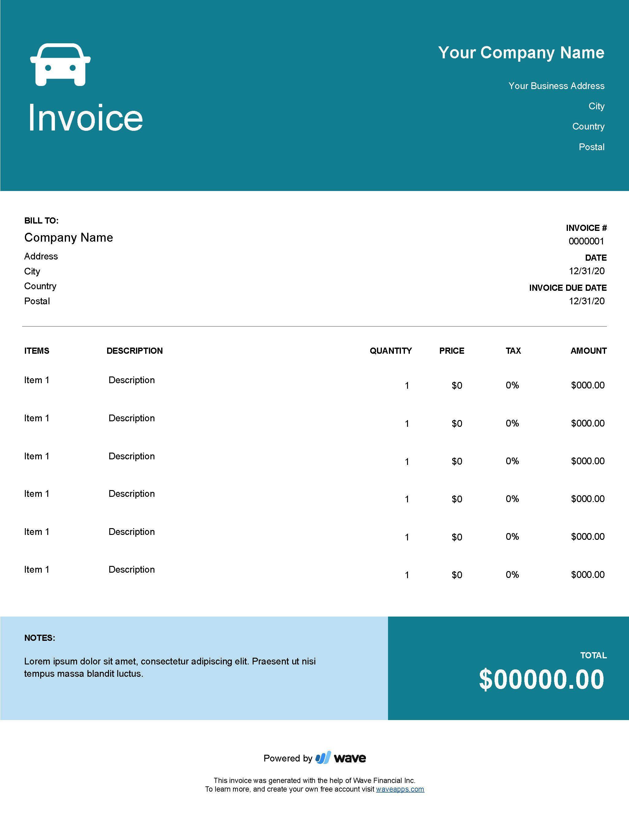 002 Amazing Free Auto Repair Shop Invoice Template High Resolution Full