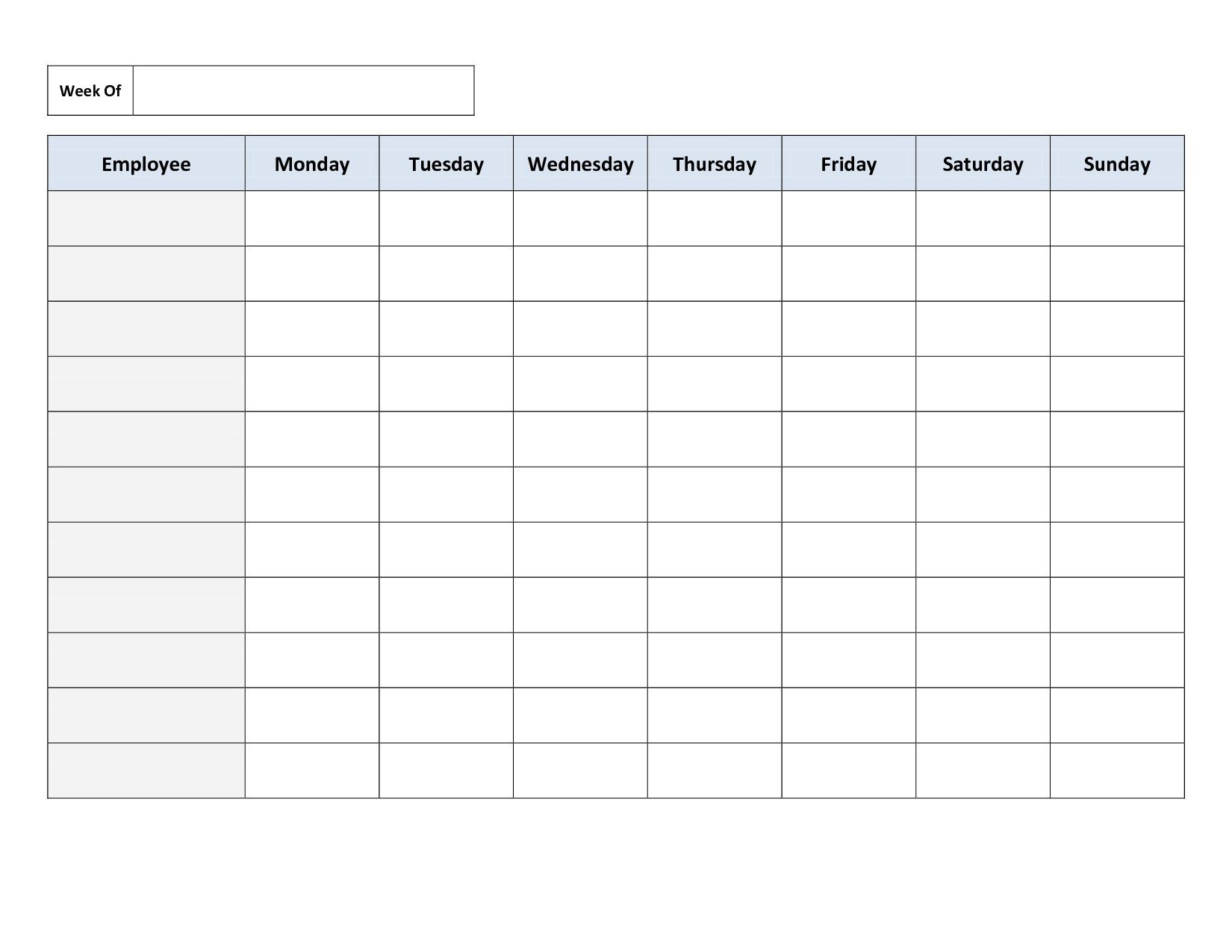 002 Amazing Free Employee Scheduling Template Idea  Templates Weekly Work Schedule Printable LunchFull