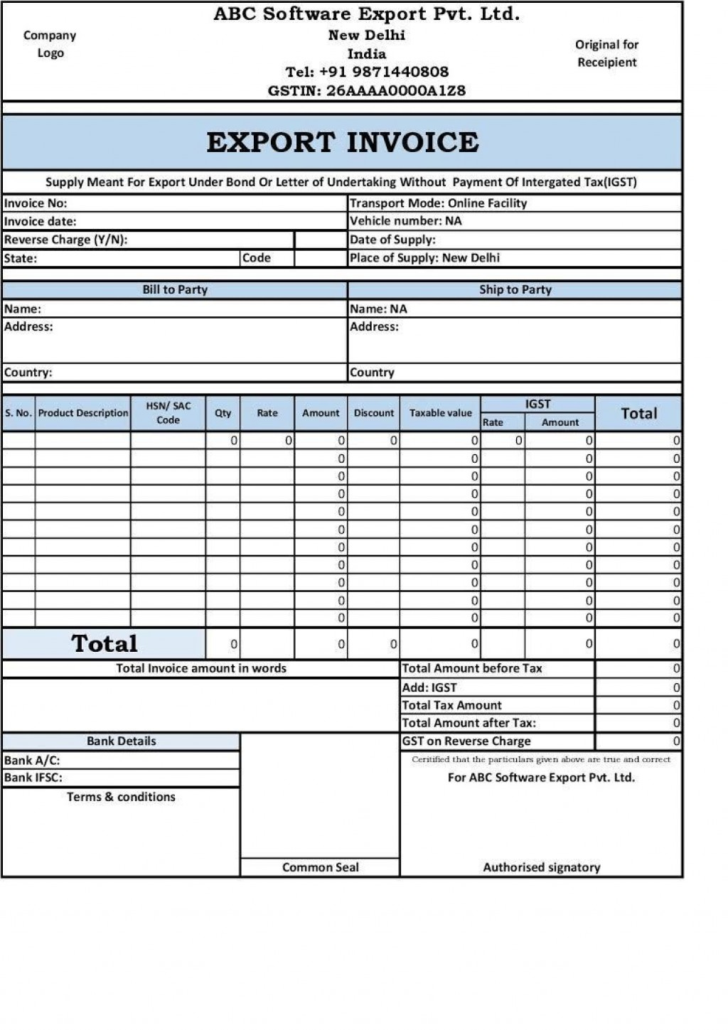 002 Amazing Free Excel Invoice Template Gst India Image Large