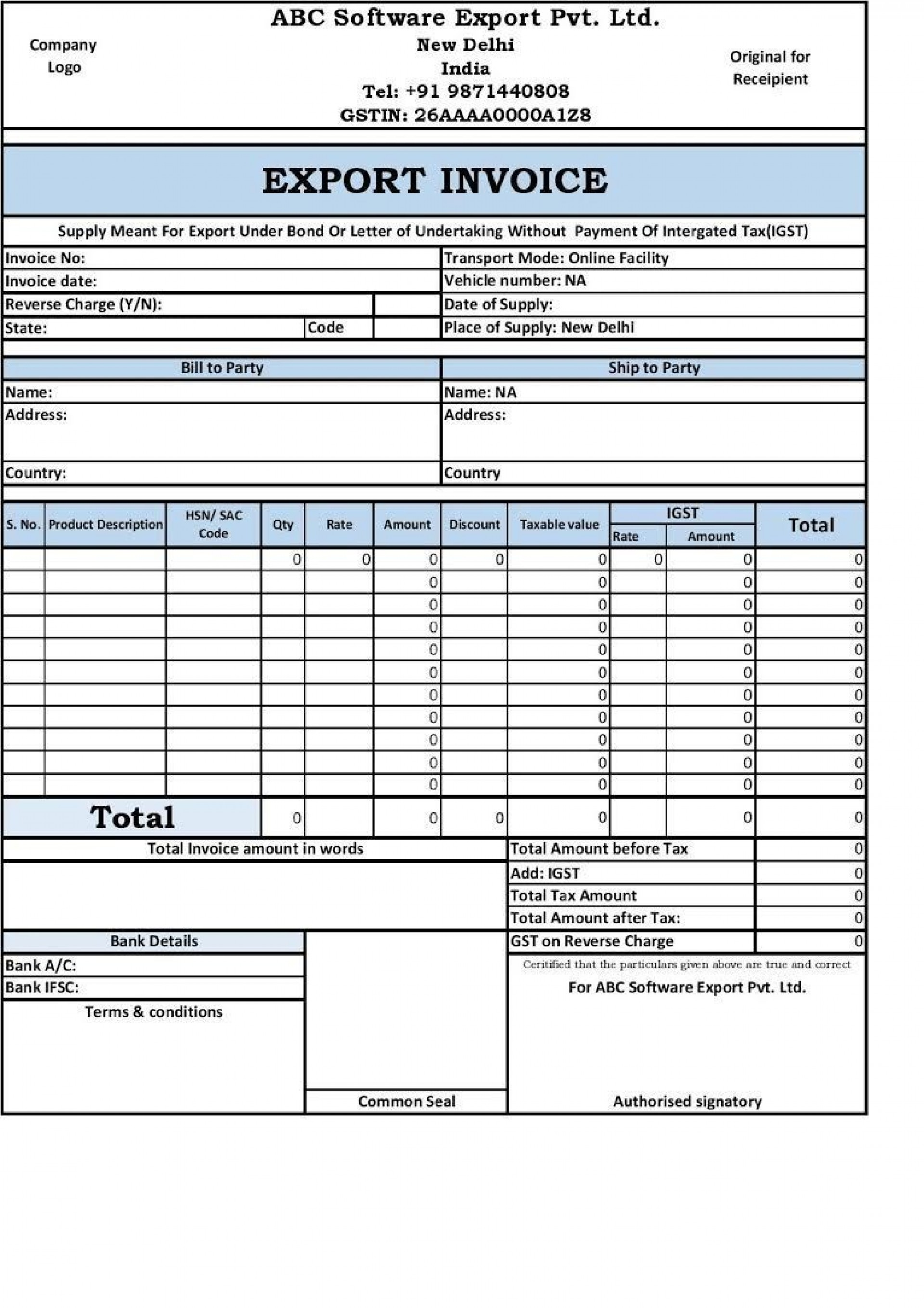 002 Amazing Free Excel Invoice Template Gst India Image 1920