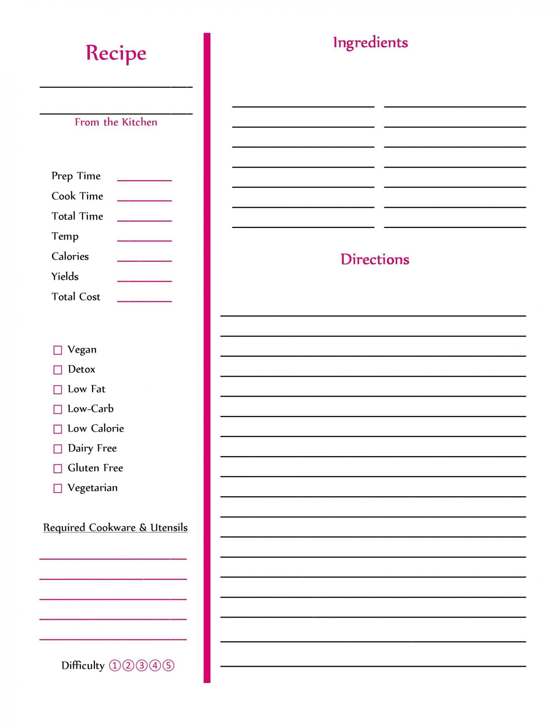 002 Amazing Free Recipe Book Template Highest Clarity  Editable Cookbook For Microsoft Word Indesign1920