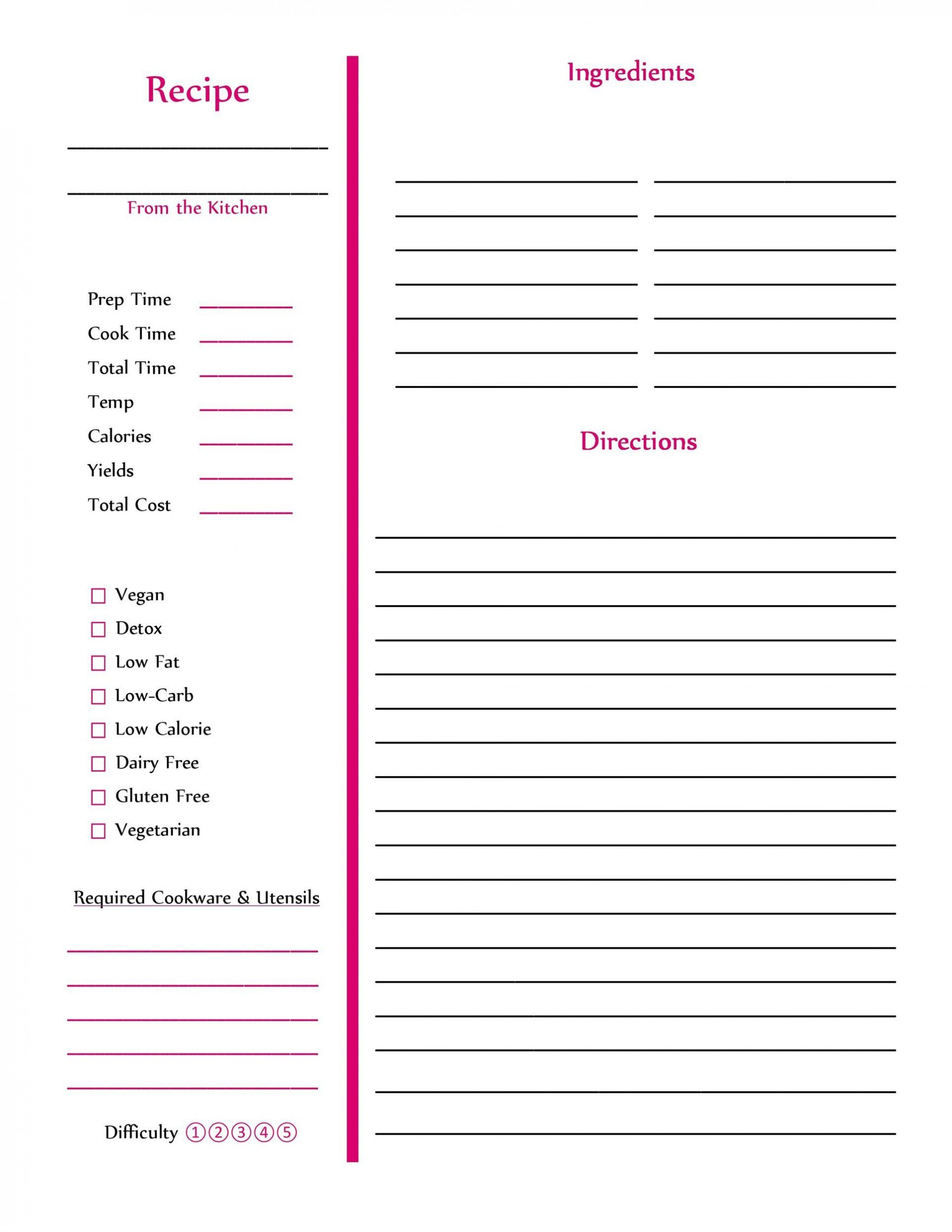 002 Amazing Free Recipe Book Template Highest Clarity  Editable Cookbook For Microsoft Word IndesignFull