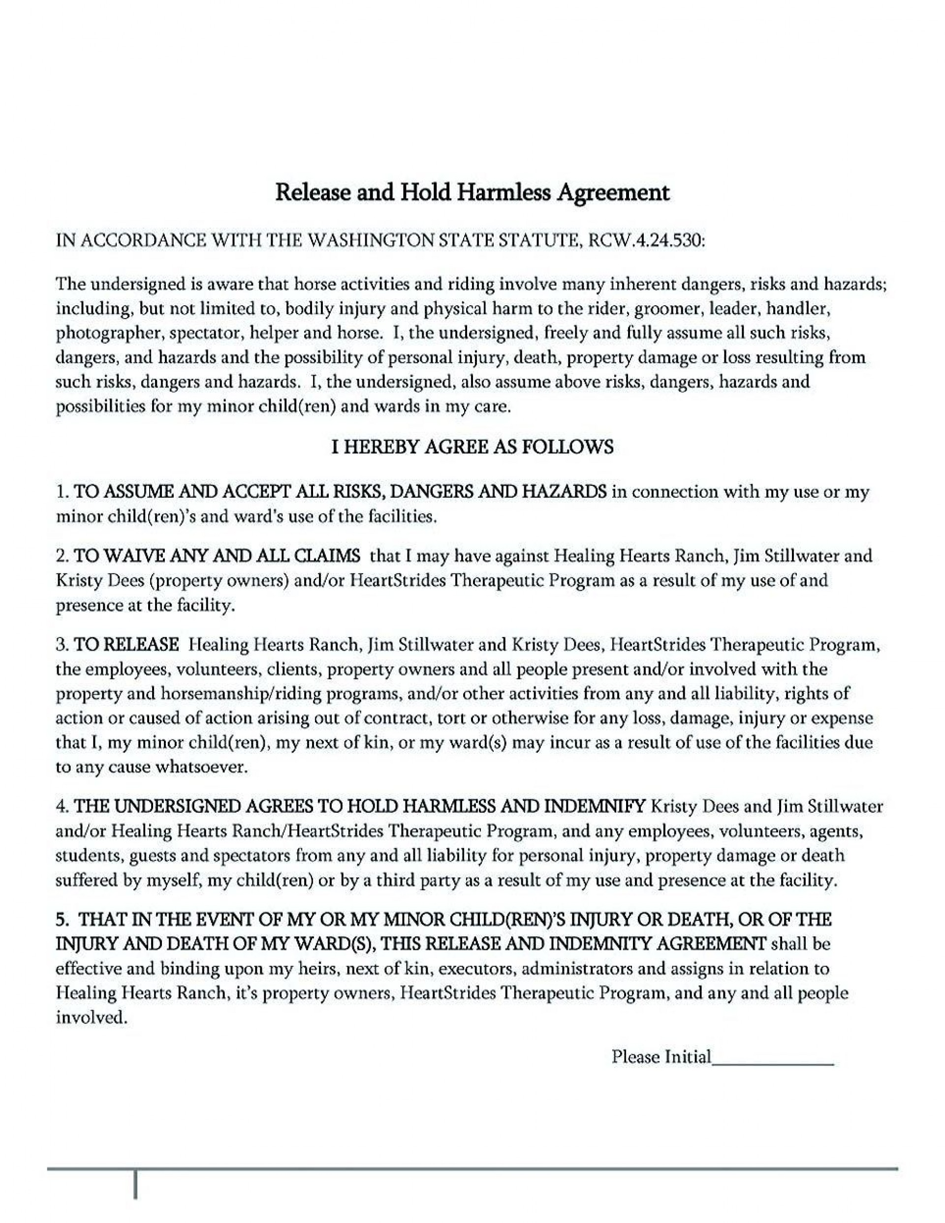 002 Amazing Hold Harmles Agreement Template Inspiration  Canada Word Free Download1920