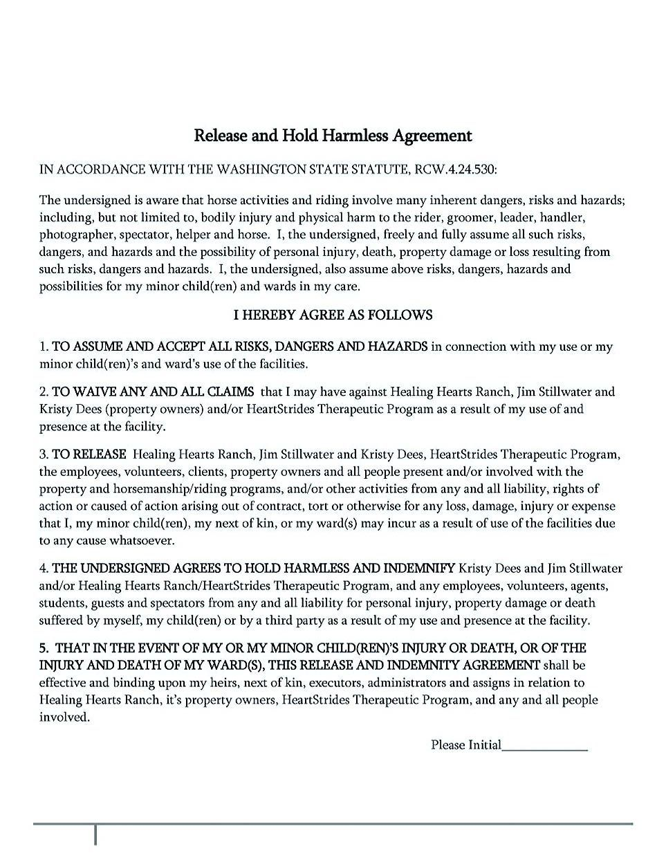 002 Amazing Hold Harmles Agreement Template Inspiration  Canada Word Free DownloadFull