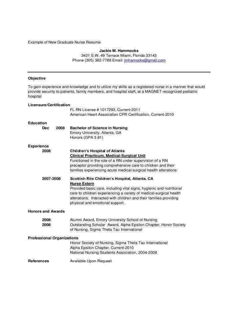 002 Amazing Rn Graduate Resume Template Idea  New Grad NurseFull