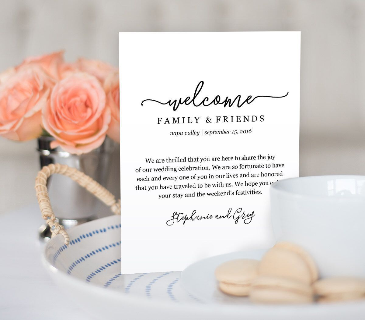 002 Amazing Wedding Gift Bag Welcome Letter Template. Design Full