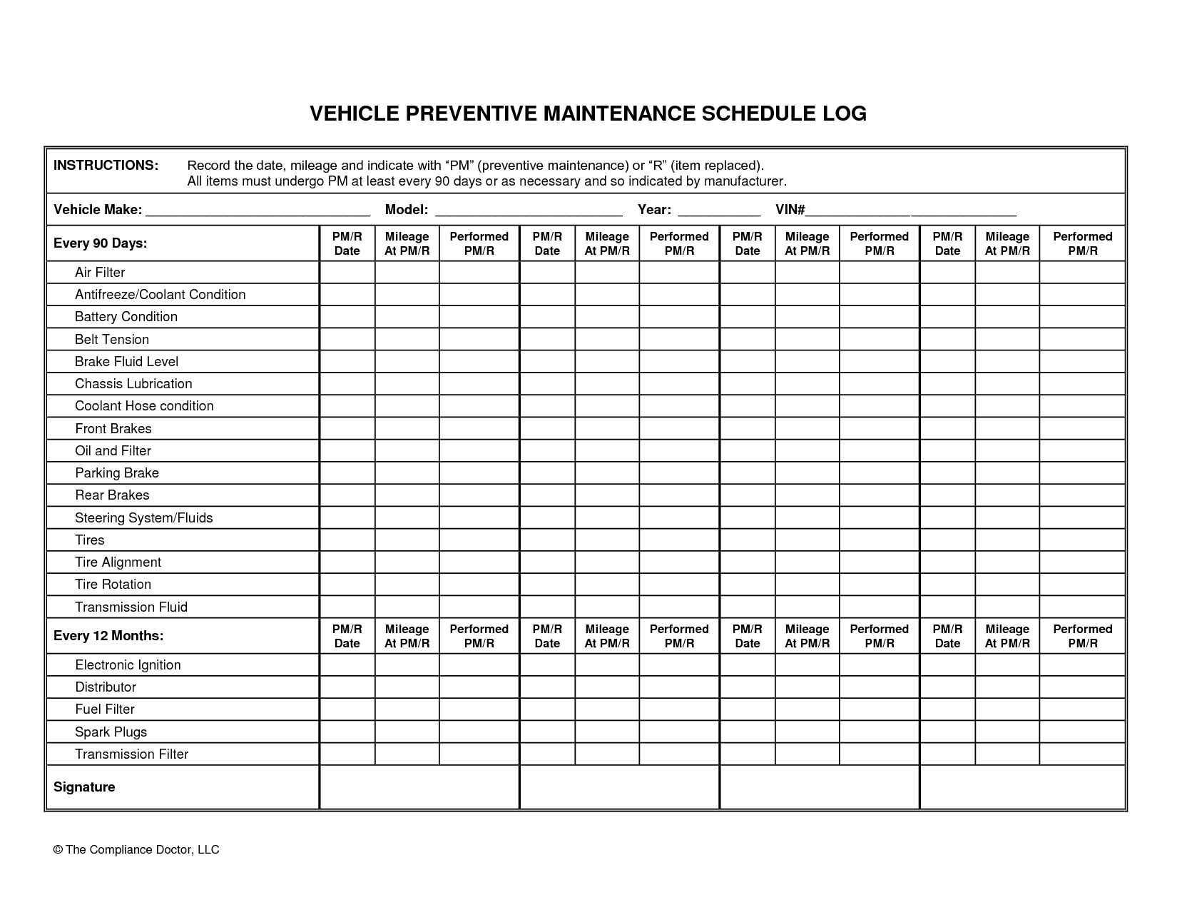 002 Archaicawful Car Maintenance Schedule Template Inspiration  Vehicle Preventive Excel LogFull