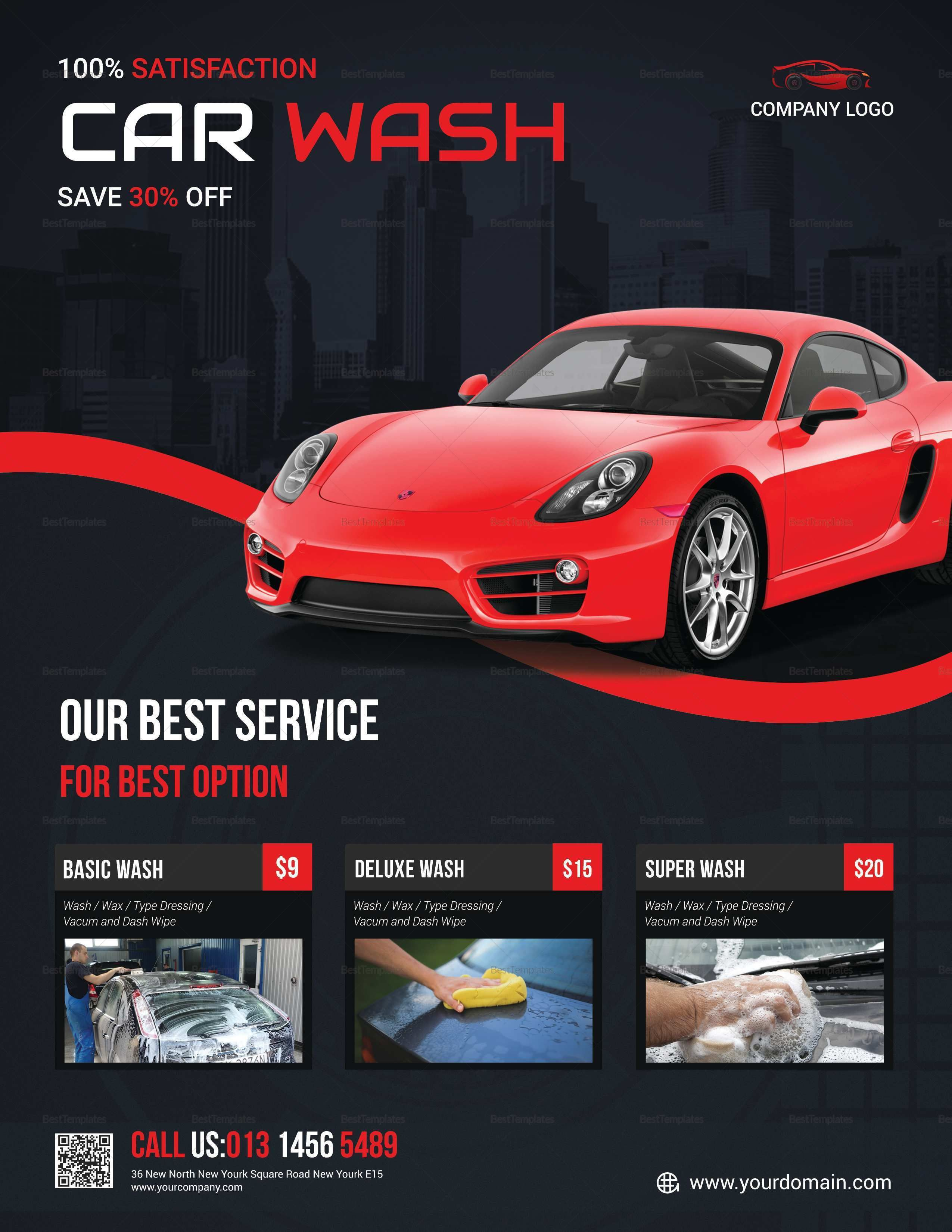 002 Archaicawful Car Wash Flyer Template Example  Free Fundraiser DownloadFull