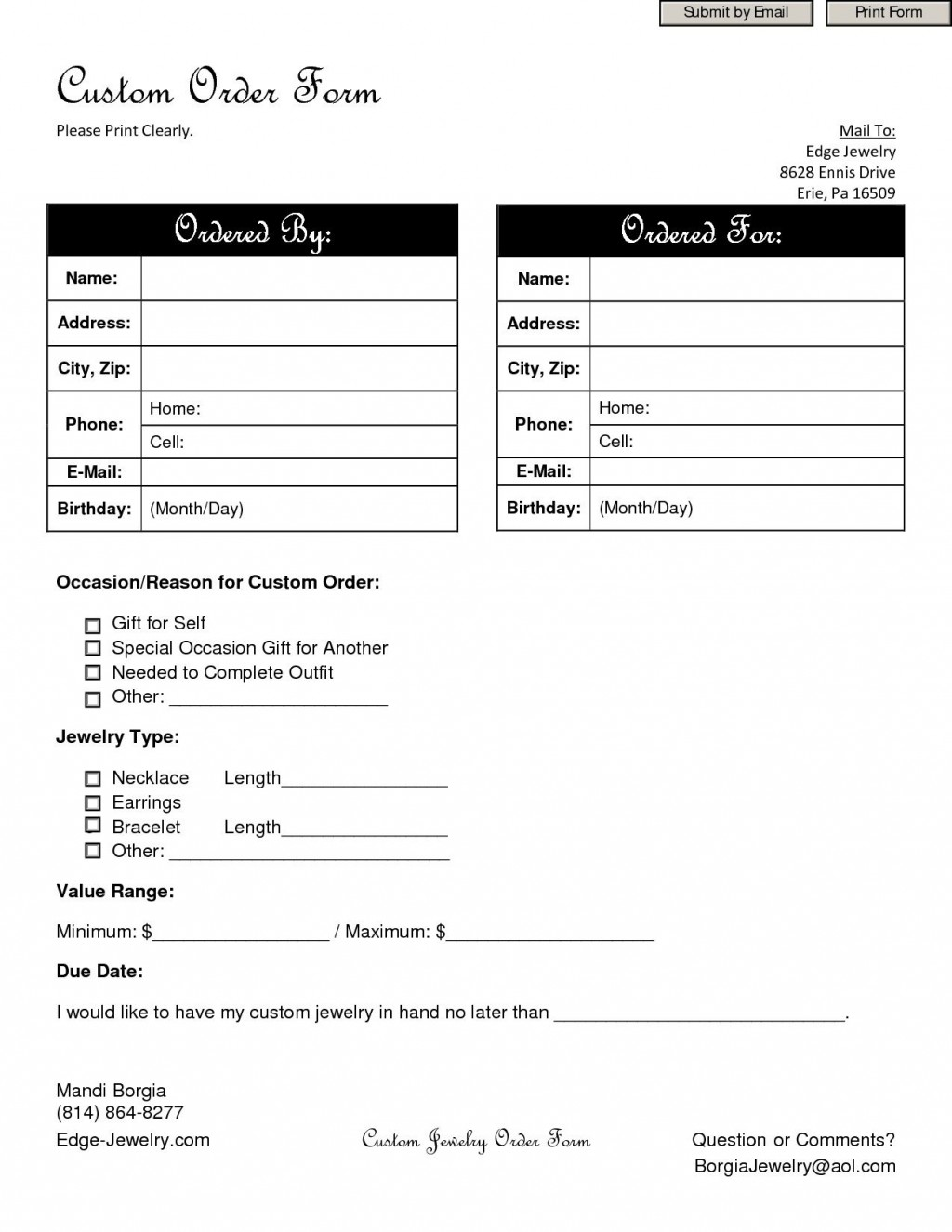 002 Archaicawful Custom Order Form Template High Def  Cake Clothing WorkLarge