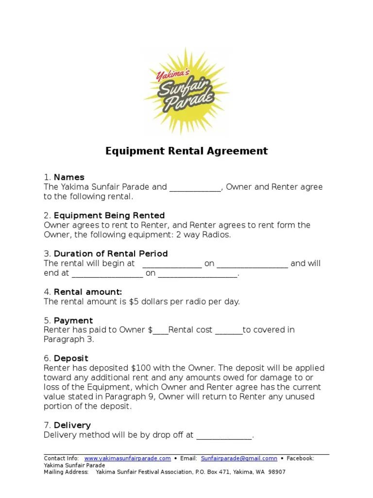 002 Archaicawful Equipment Rental Agreement Template Design  Canada Free South Africa PdfFull