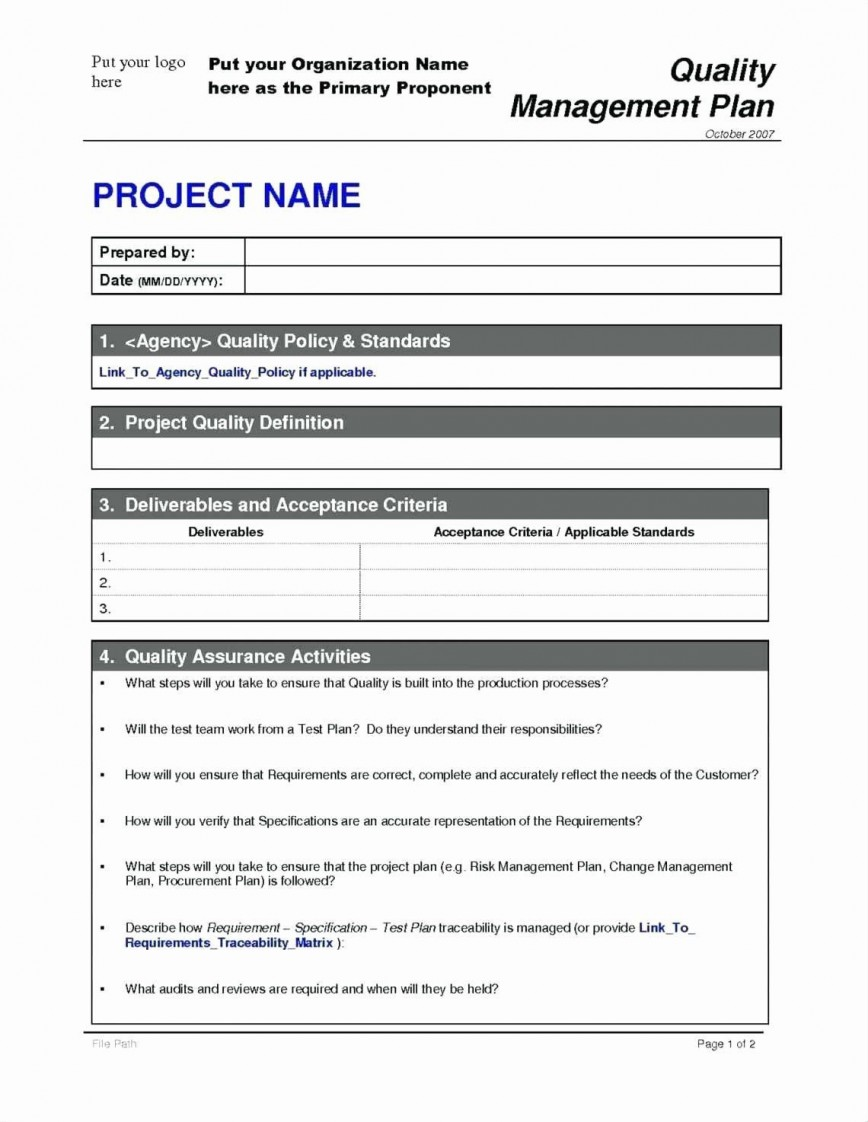 Project Management Plan Sample Word Addictionary