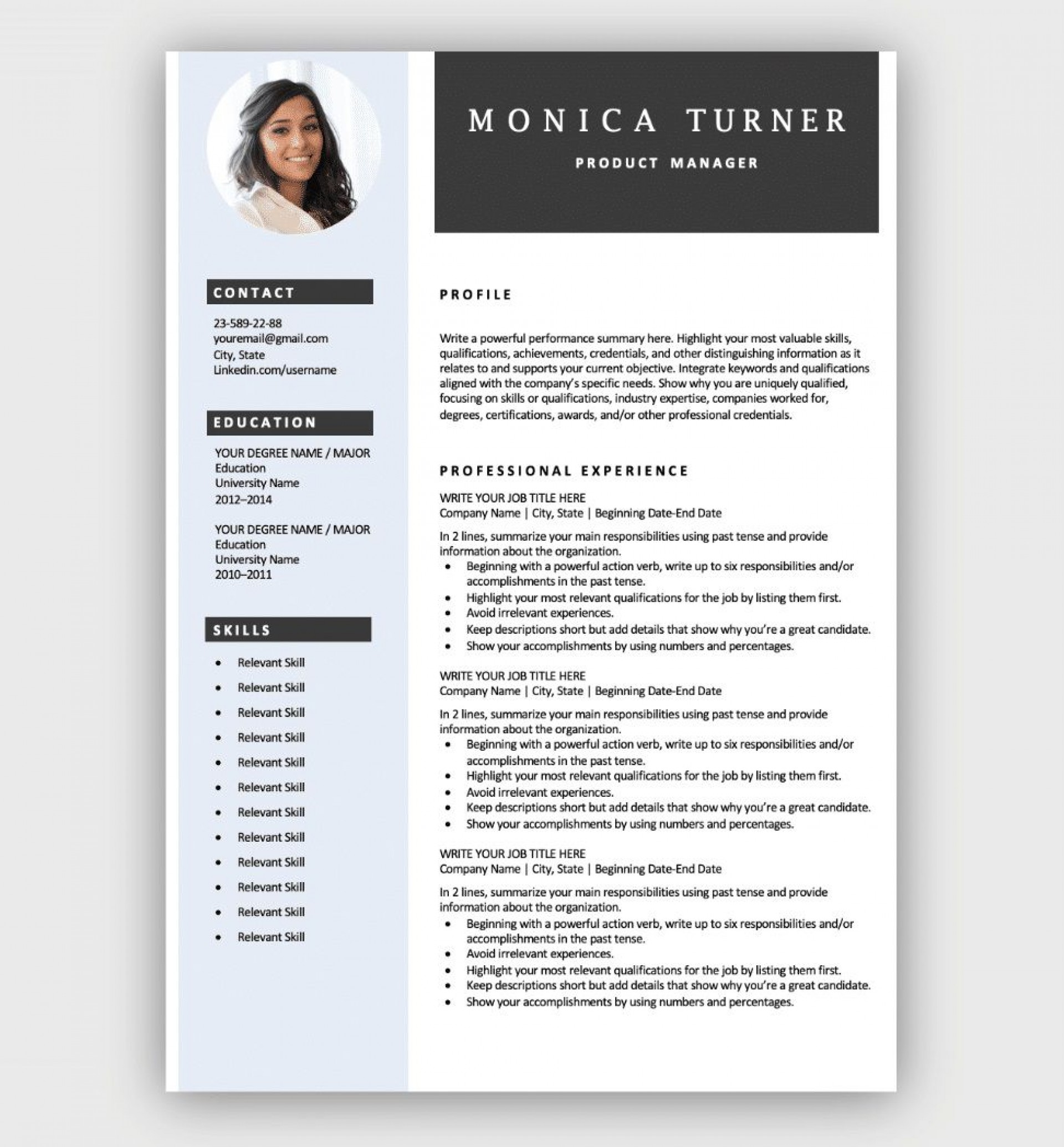 Resume Template Download Free Addictionary