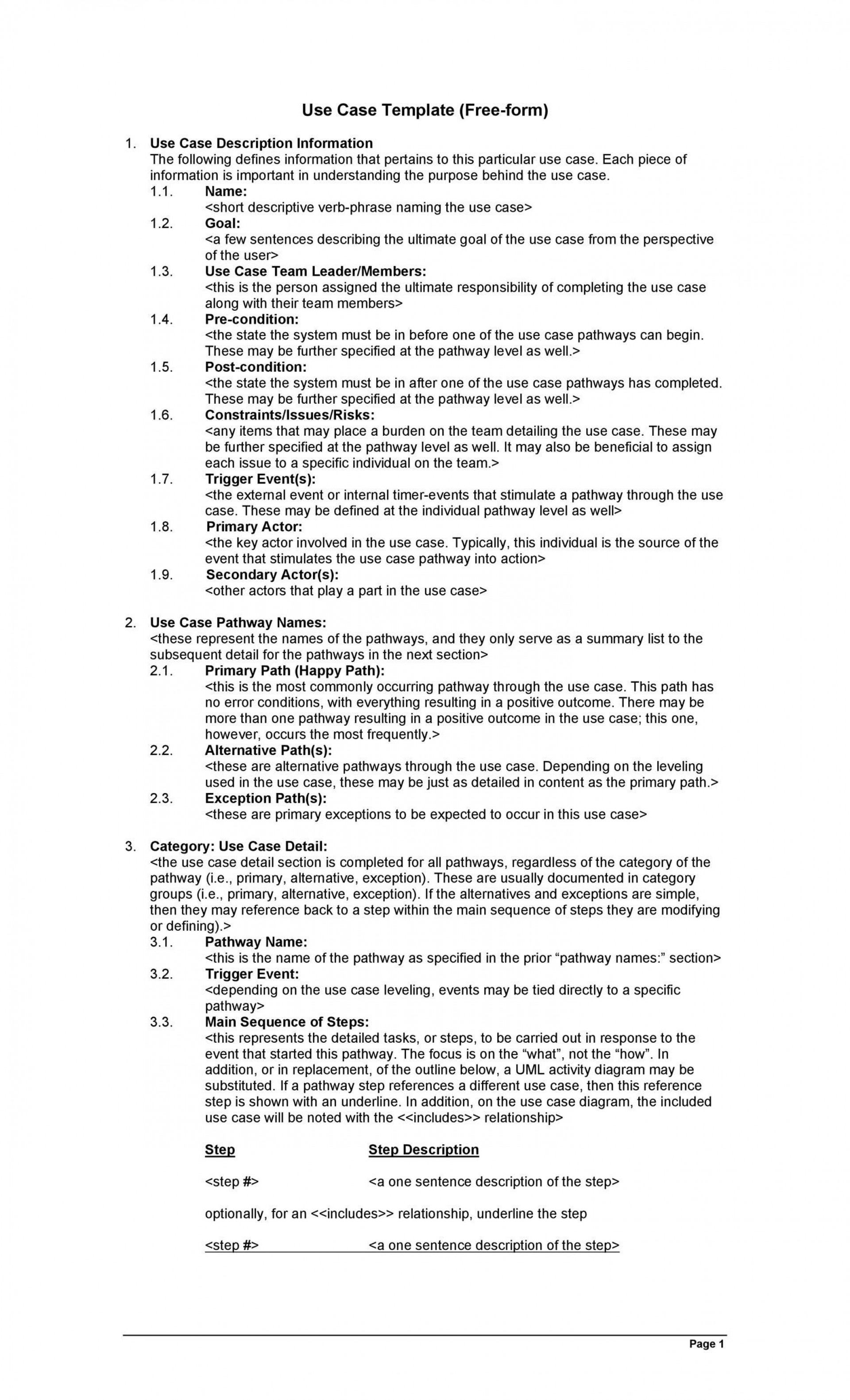 002 Archaicawful Use Case Template Word Highest Clarity  Doc Test1920
