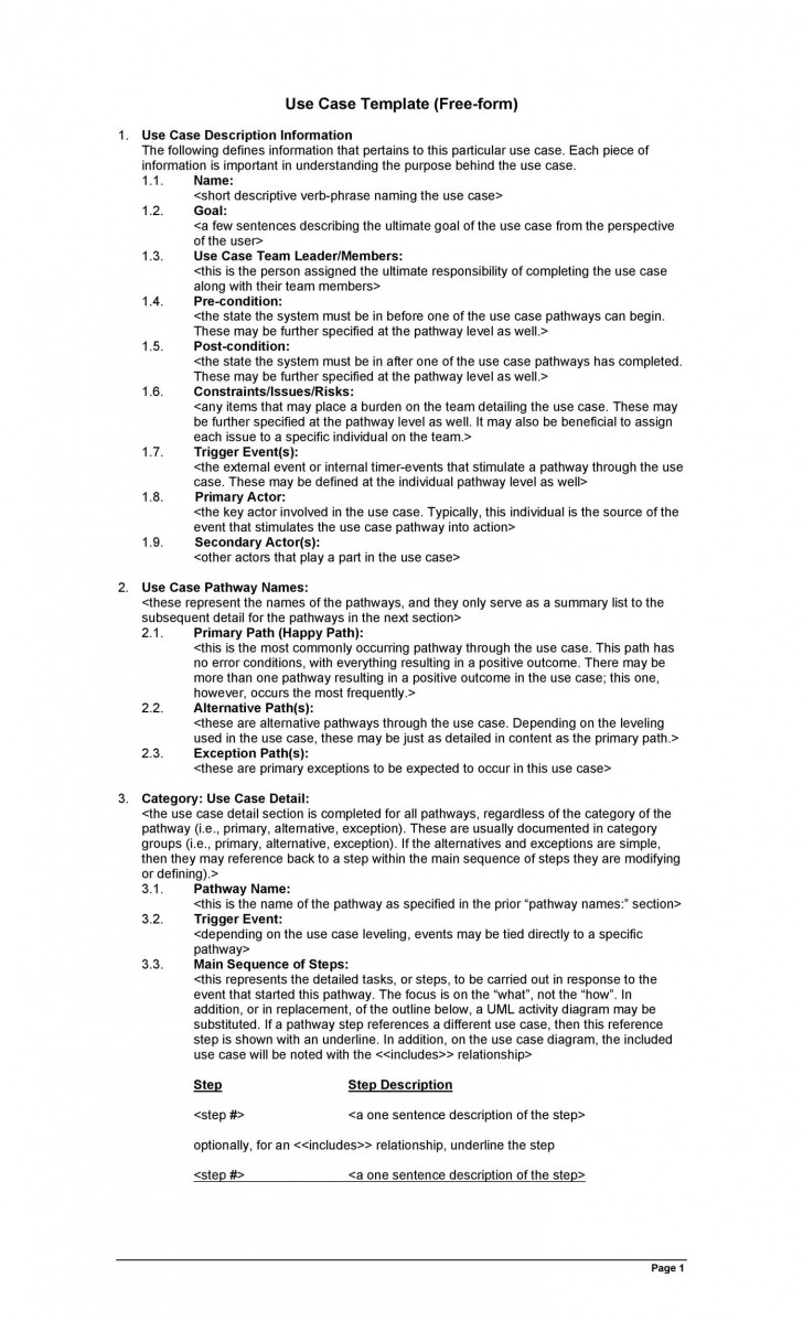 002 Archaicawful Use Case Template Word Highest Clarity  Doc Test728