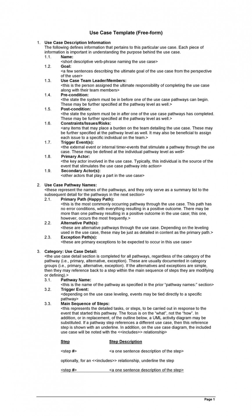 002 Archaicawful Use Case Template Word Highest Clarity  Doc Test868