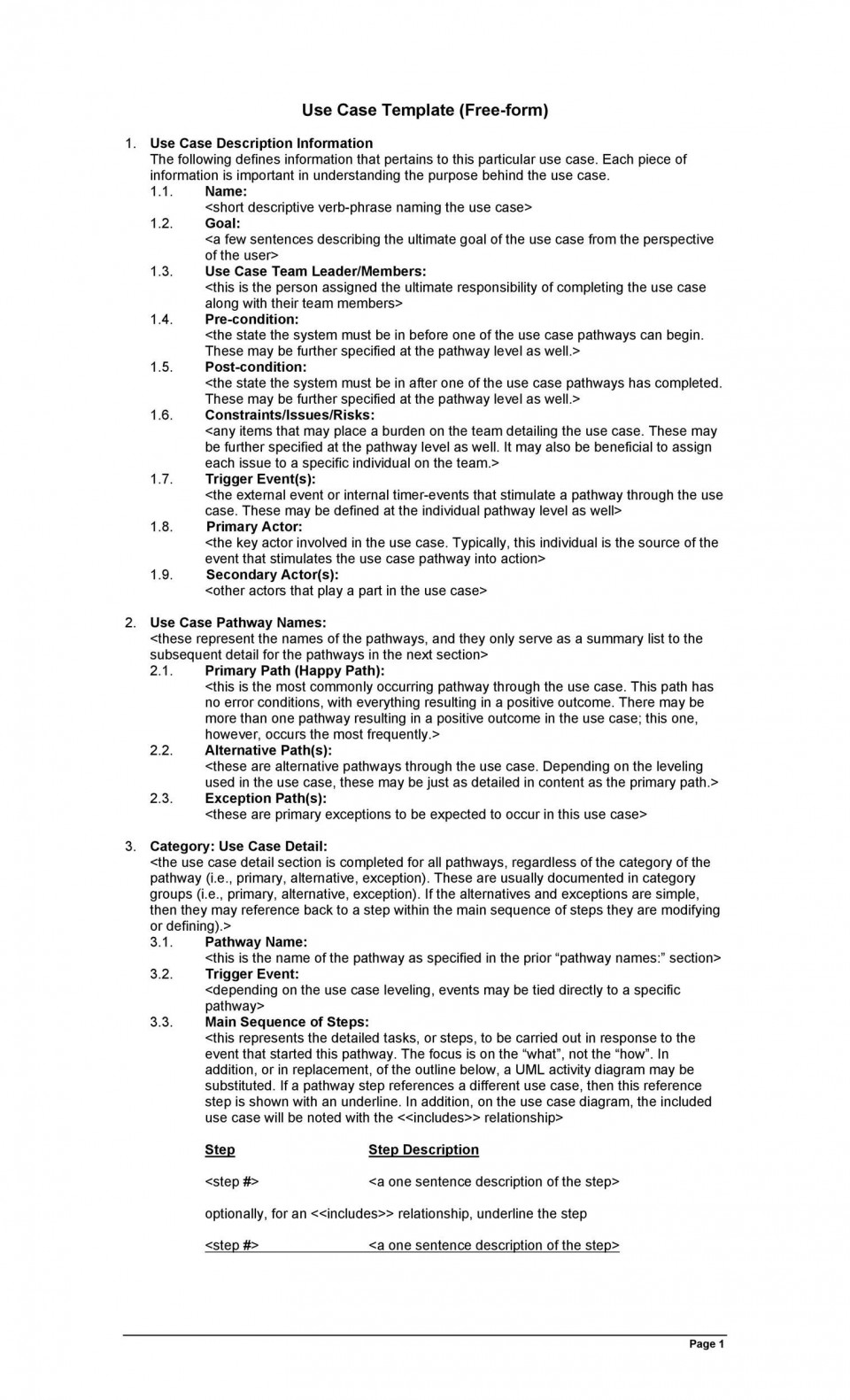 002 Archaicawful Use Case Template Word Highest Clarity  Doc Test960