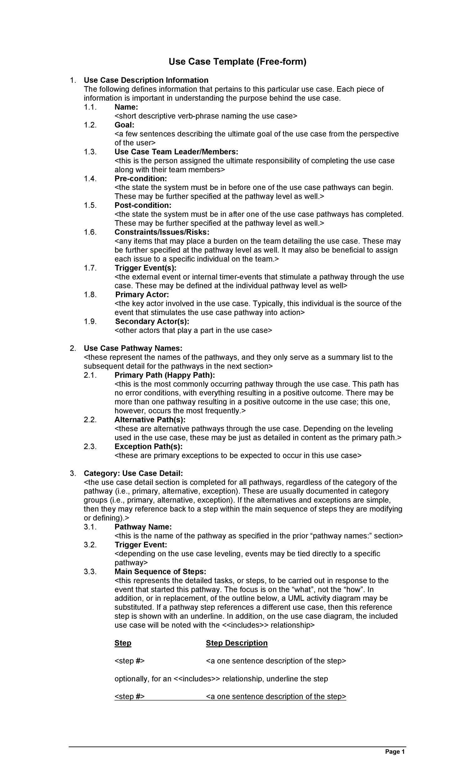 002 Archaicawful Use Case Template Word Highest Clarity  Doc TestFull