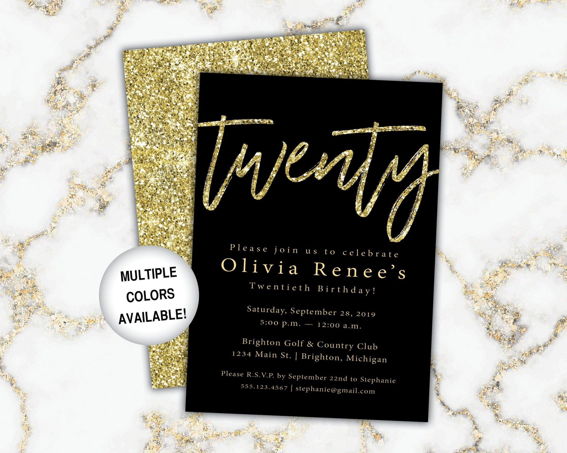 002 Astounding Black And Gold Invitation Template High Resolution  Design White Free Printable1920