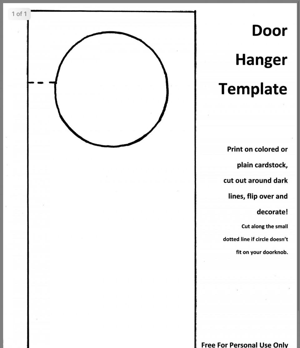 002 Astounding Blank Door Hanger Template Free Design 960