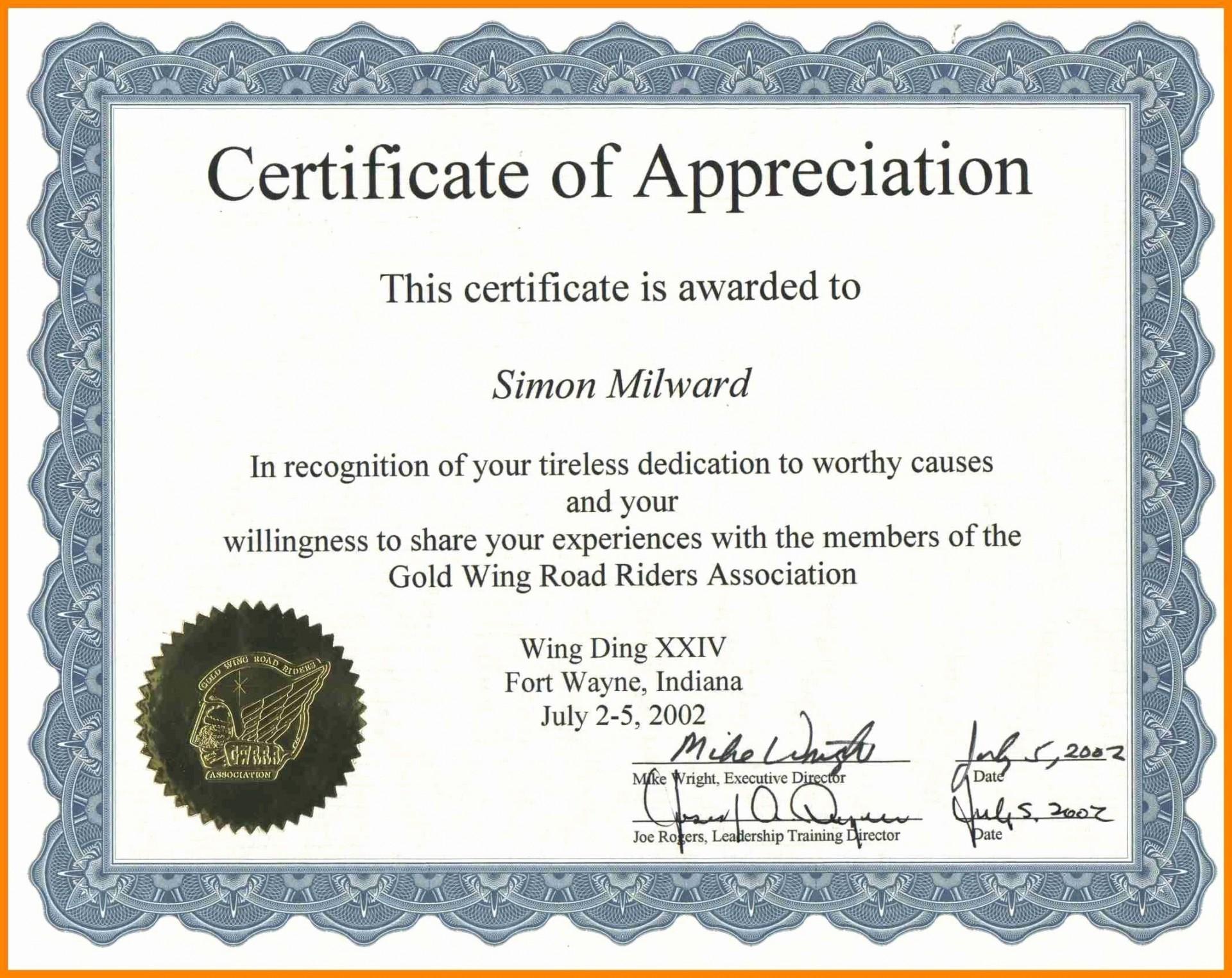 002 Astounding Certificate Of Recognition Sample Wording Inspiration  Award1920