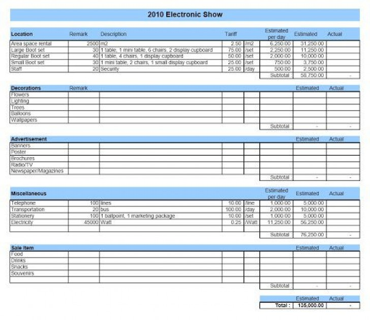 002 Astounding Event Budget Template Excel Sample  Download 2010 Planner728