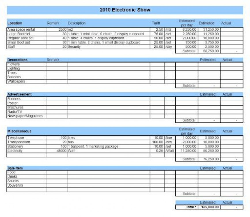 002 Astounding Event Budget Template Excel Sample  Download 2010 Planner868