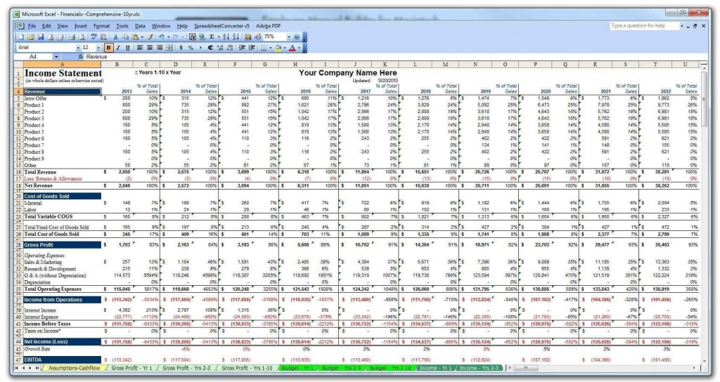 002 Astounding Excel Busines Plan Template Free Sample  Startup ContinuityLarge