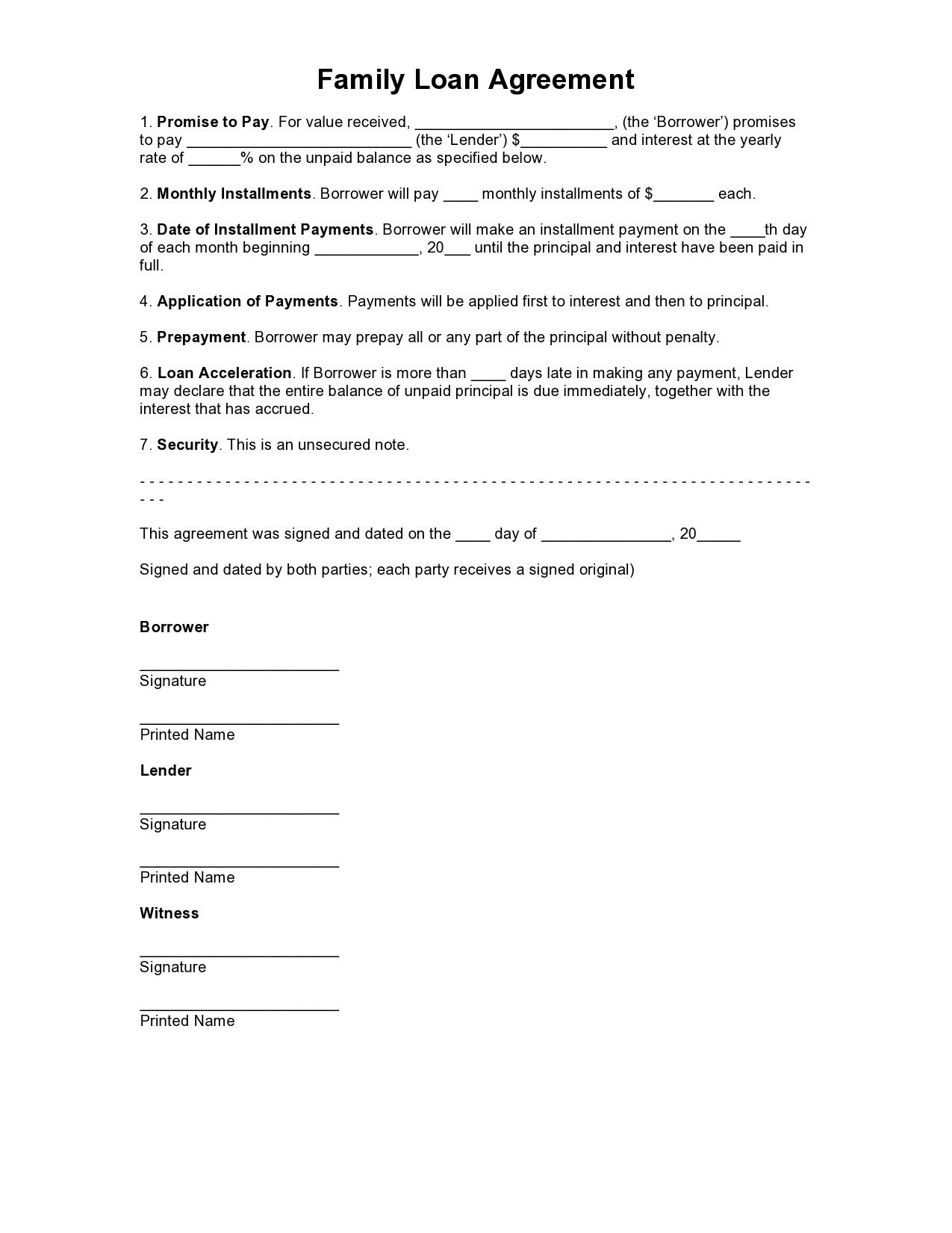 002 Astounding Family Loan Agreement Template Free Uk Example  SimpleFull