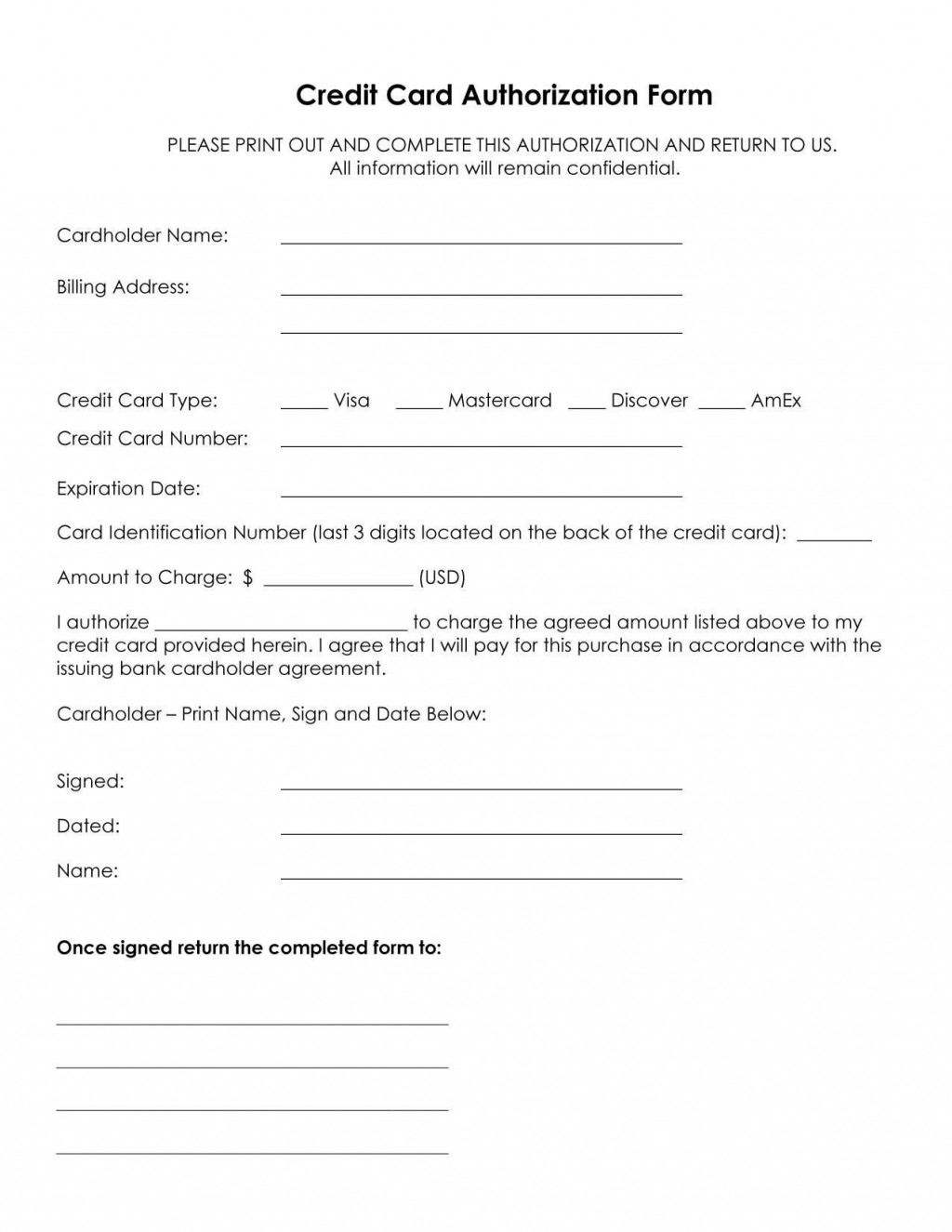 002 Astounding One Time Credit Card Payment Authorization Form Template Photo Large