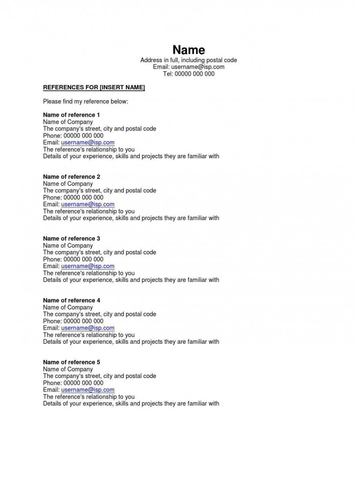 002 Astounding Resume Reference List Template Microsoft Word High Resolution 728
