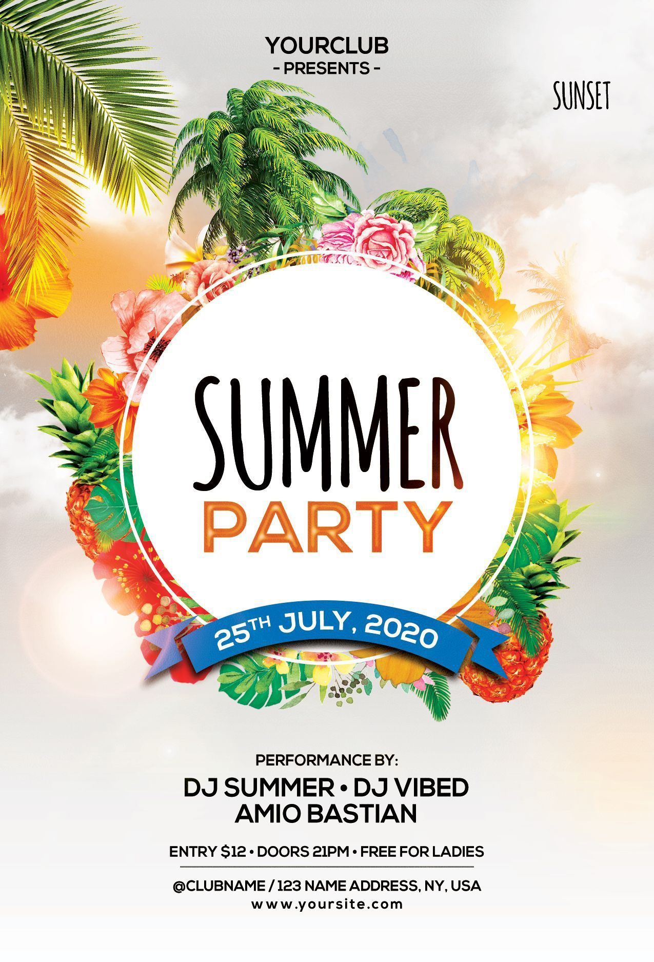 002 Astounding Summer Party Flyer Template Free Download Highest Clarity Full
