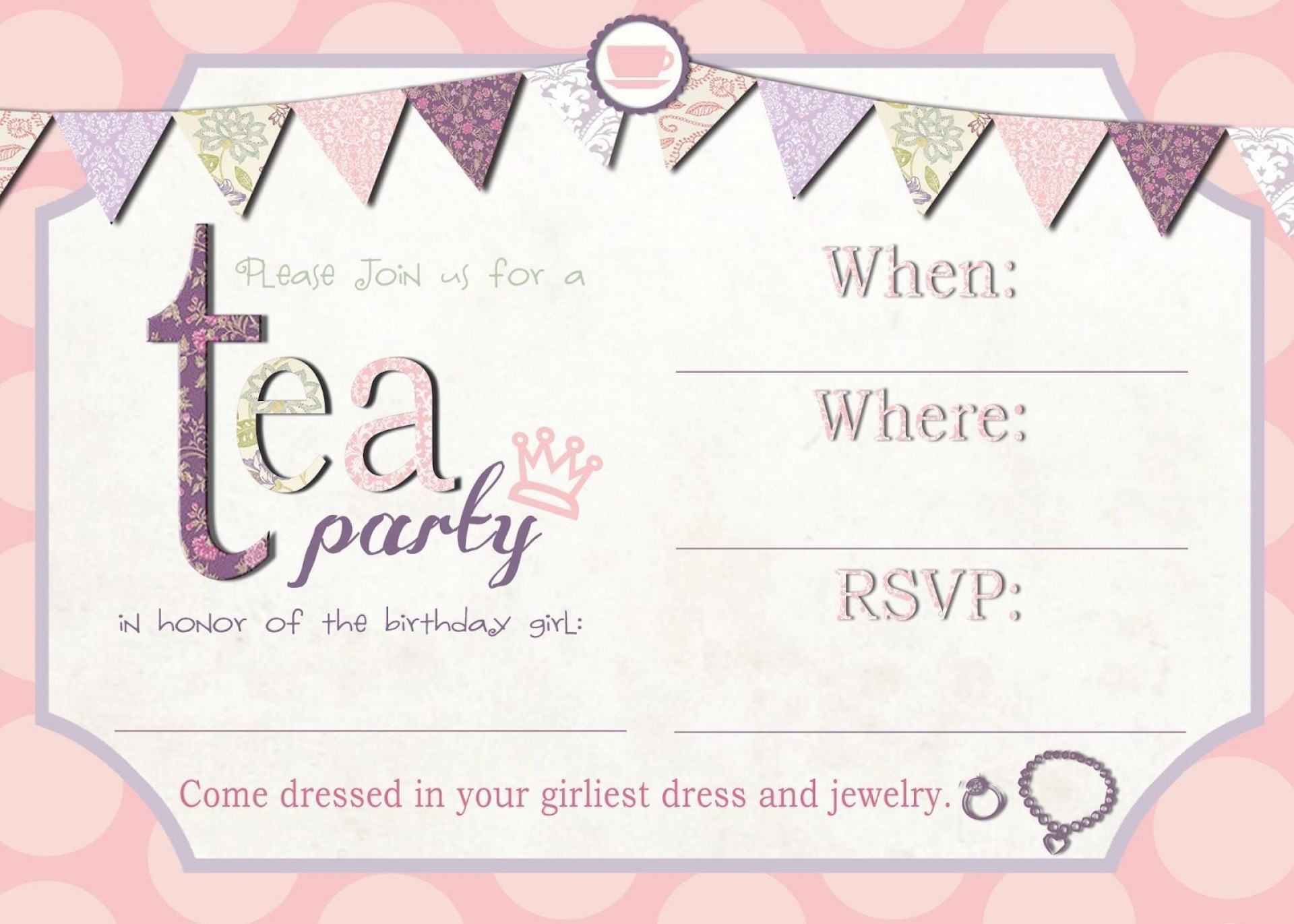 002 Astounding Tea Party Invitation Template Free Sample  Vintage Princes Printable1920