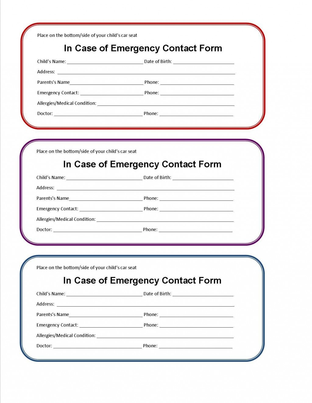 002 Astounding Travel Emergency Contact Card Template Concept Large