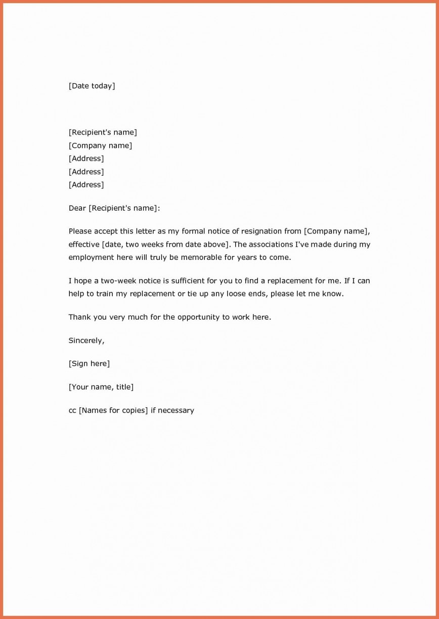 002 Astounding Two Week Notice Letter Template Idea  Free 2 Word