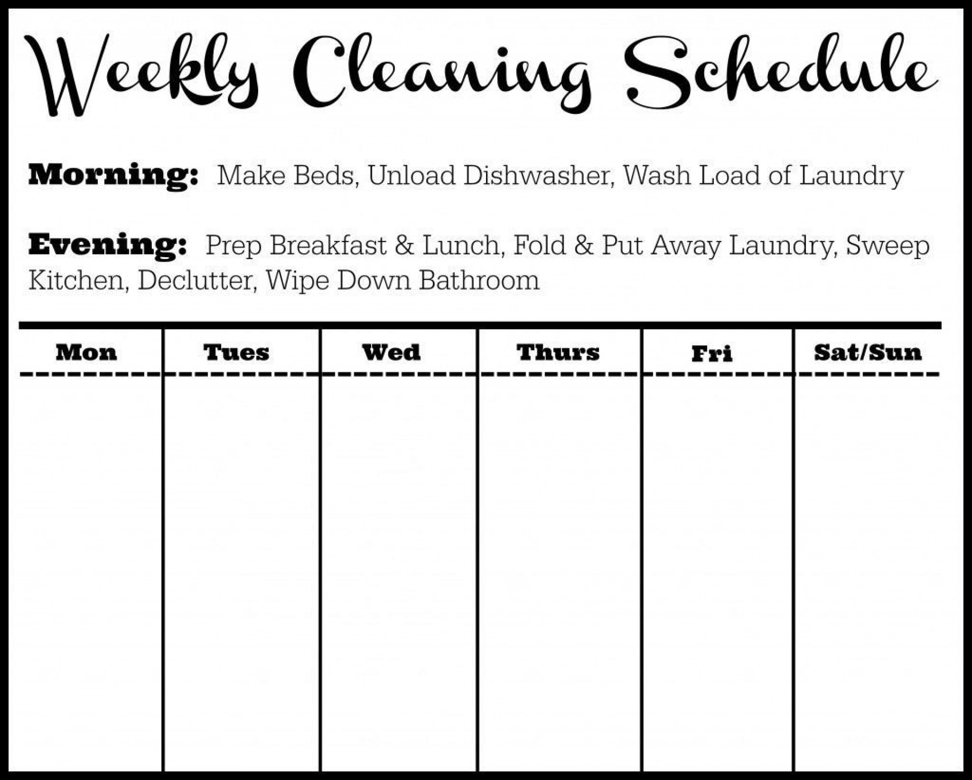002 Astounding Weekly Cleaning Schedule Template Sample  Word Example House Checklist1920