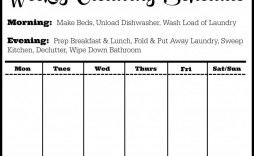 002 Astounding Weekly Cleaning Schedule Template Sample  Word Example House Checklist