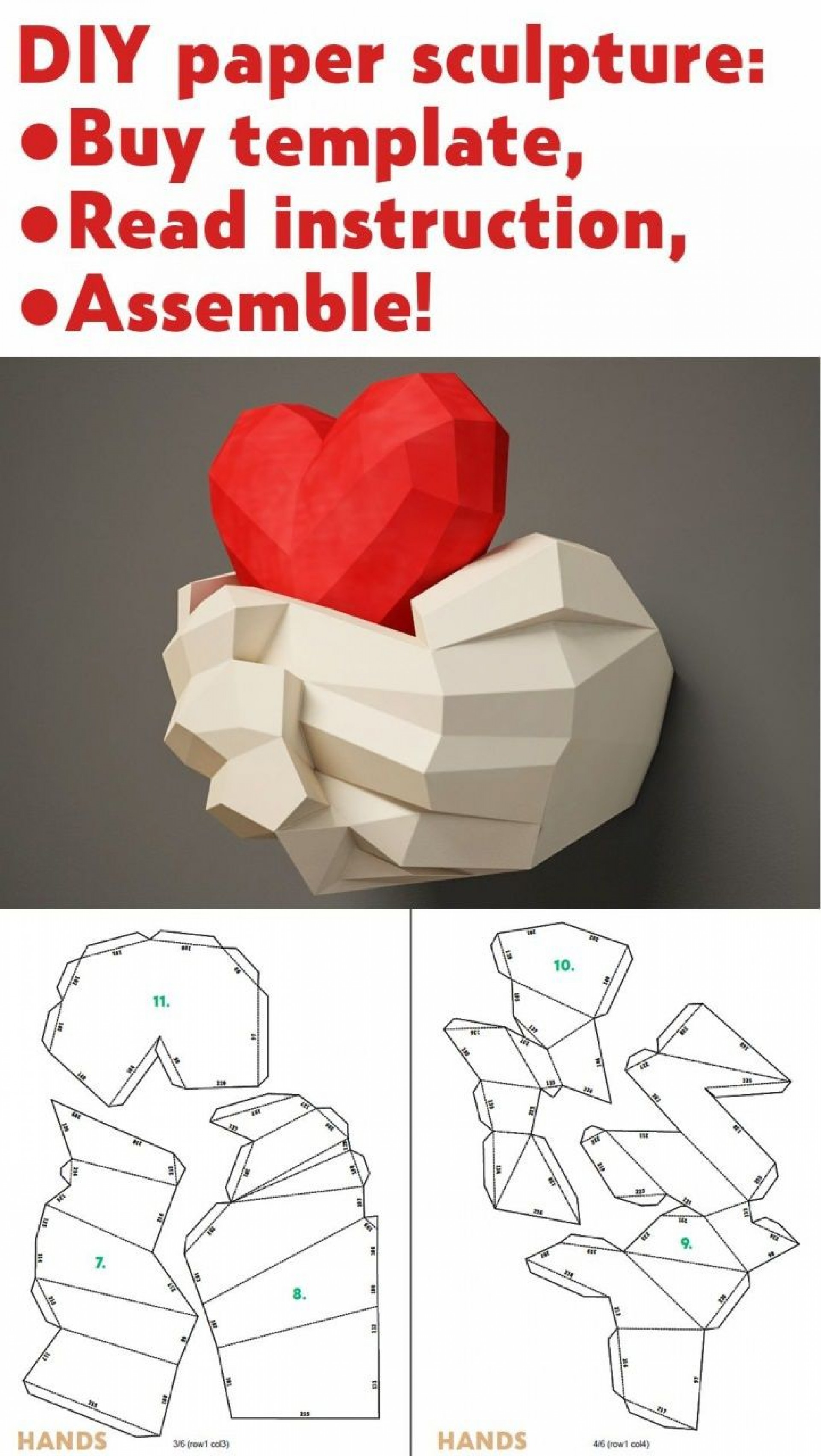 002 Awesome 3d Paper Art Template Sample  Templates Pdf1920