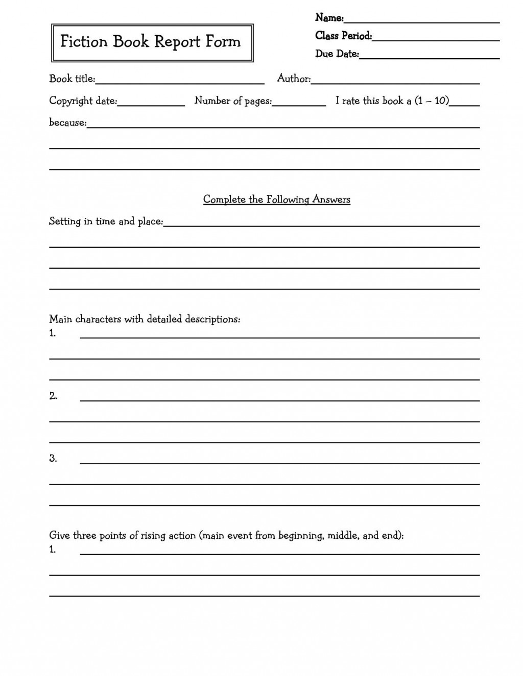 002 Awesome 6th Grade Book Report Template Picture  Sixth Format Printable Middle SchoolLarge